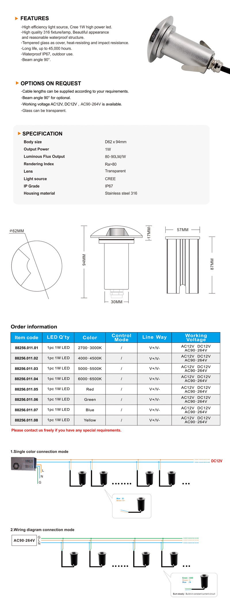 Buy Mini 1w Waterproof Led Recessed Underground Lightcommercial Cree Lighting Wiring Diagram Product Details